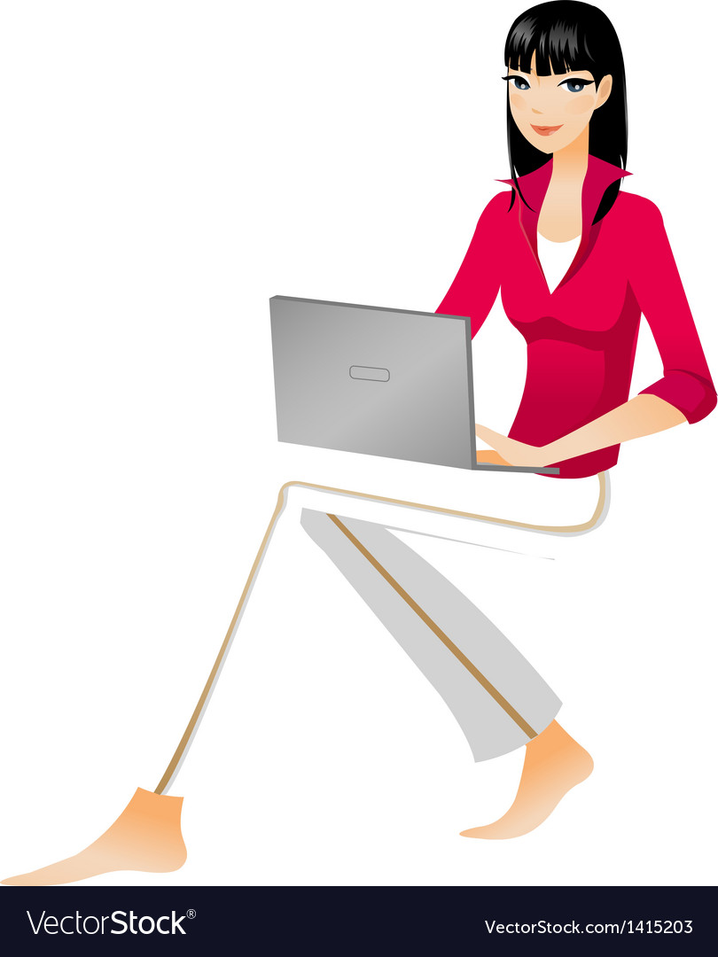 Laptop woman vector | Price: 1 Credit (USD $1)