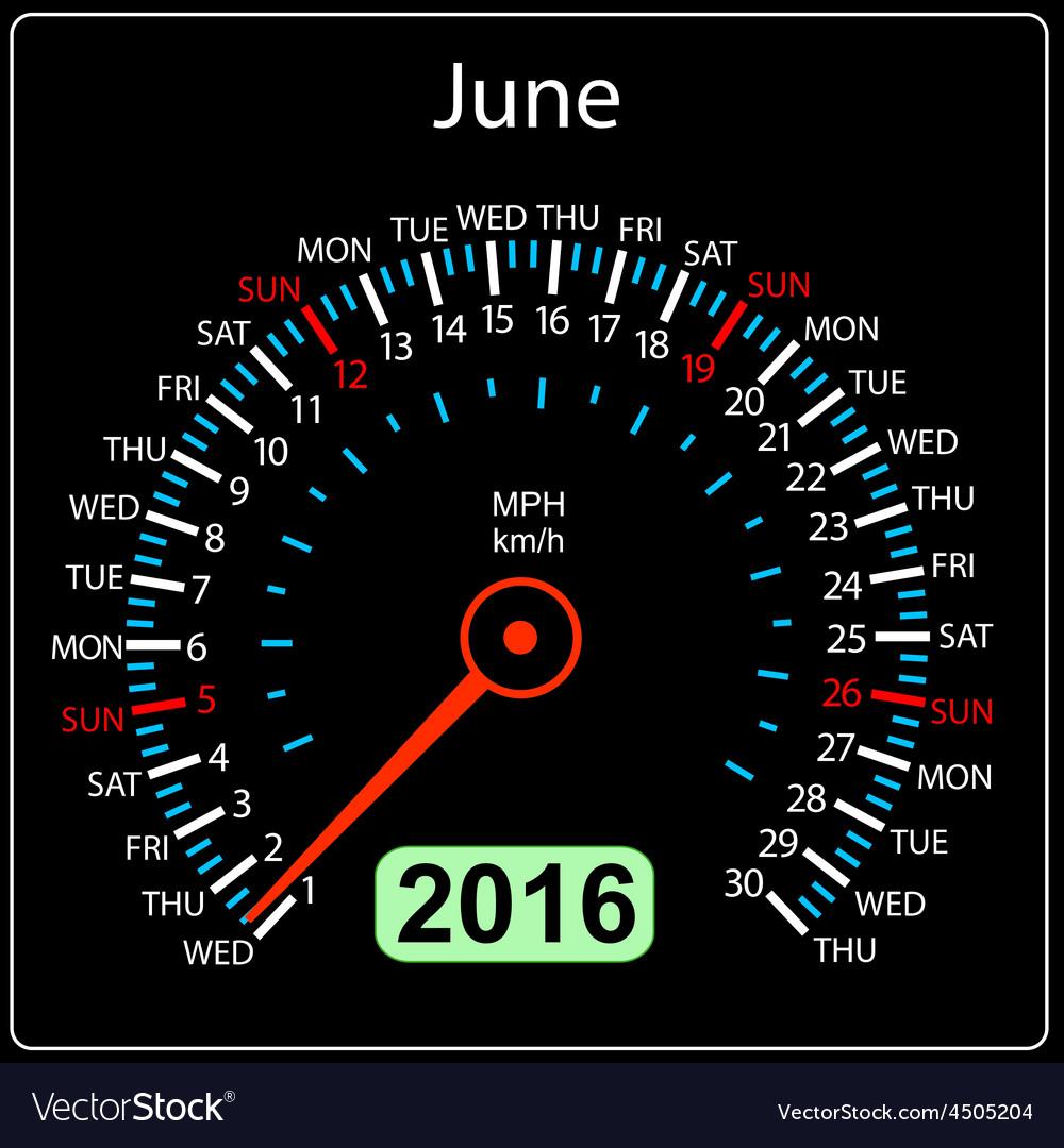 2016 year calendar speedometer car june vector | Price: 1 Credit (USD $1)