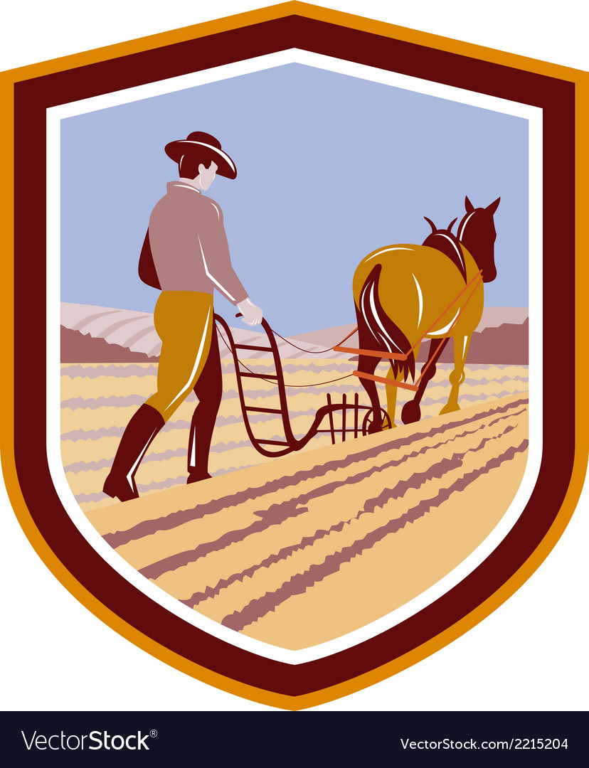 Farmer and horse plowing farm field crest retro vector | Price: 1 Credit (USD $1)