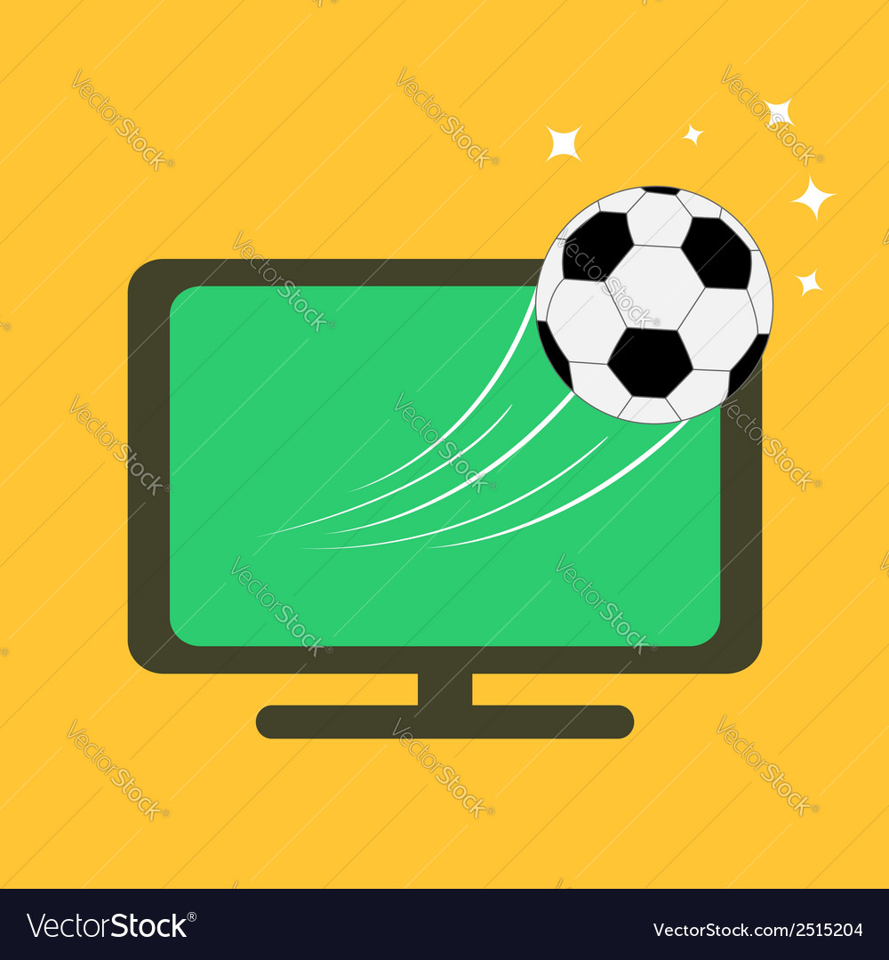 Football soccer ball flying from tv set orange vector | Price: 1 Credit (USD $1)
