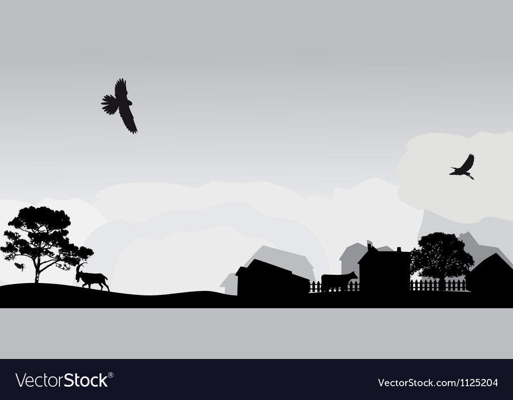 Grey landscape with trees and village vector | Price: 1 Credit (USD $1)