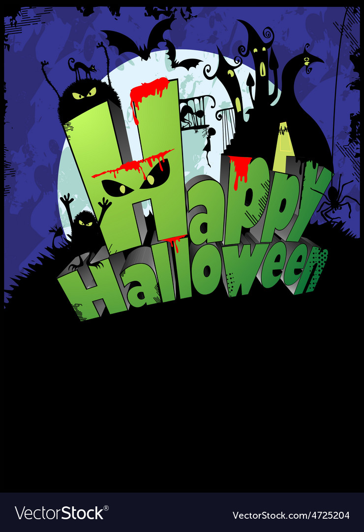 Halloween poster with the text happy halloween vector | Price: 1 Credit (USD $1)