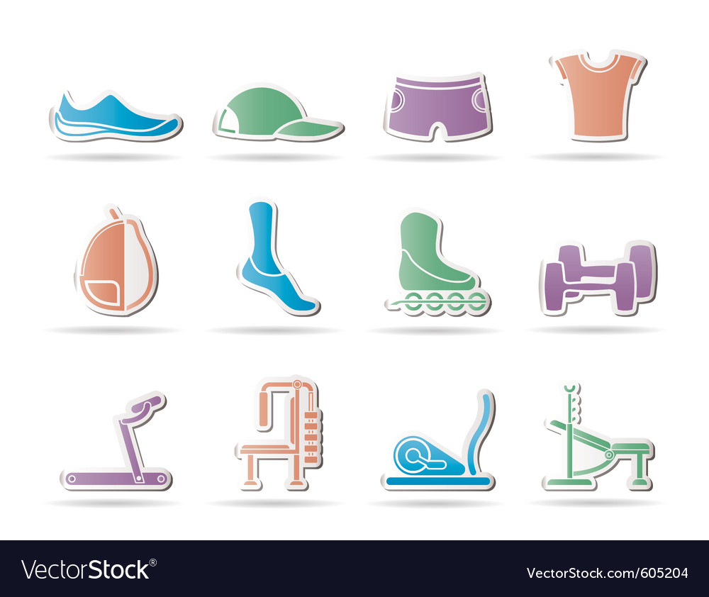 Sports equipment and objects icons vector | Price: 1 Credit (USD $1)