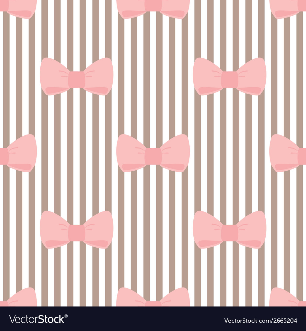 Tile pink bows on brown and white stripes pattern vector | Price: 1 Credit (USD $1)