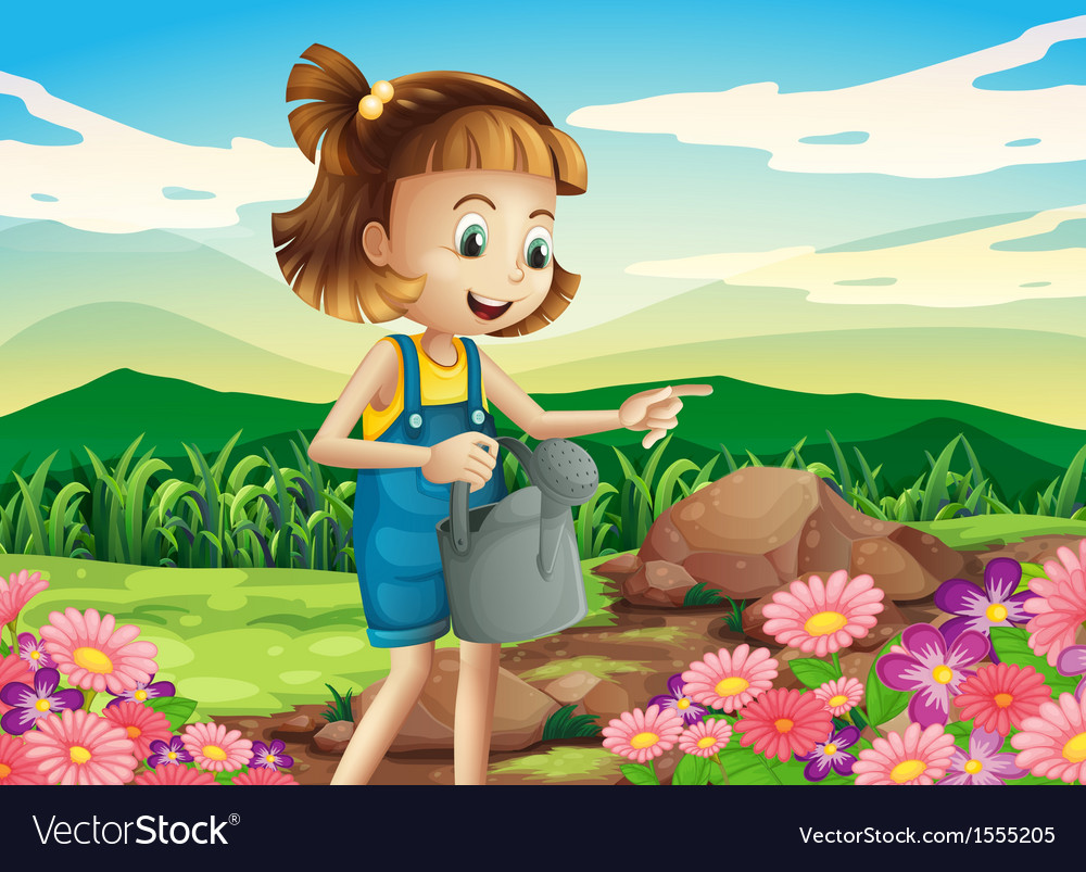 A little woman watering the plants vector   Price: 1 Credit (USD $1)