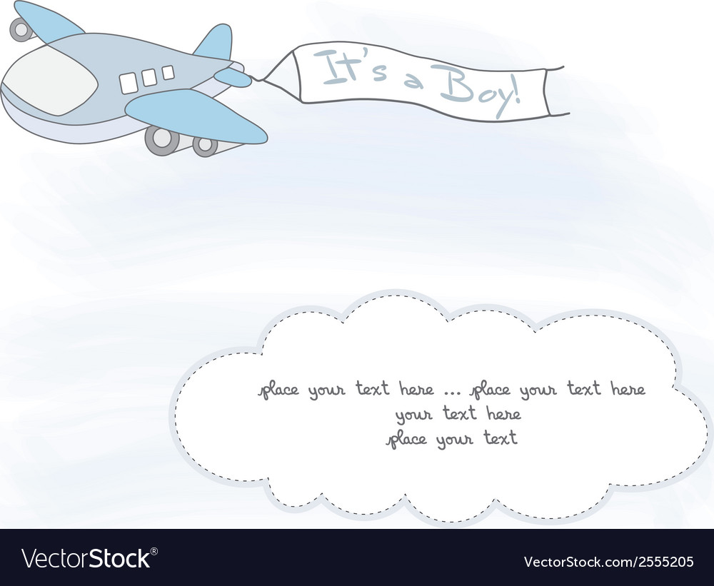 Baby boy announcement card with airplane vector | Price: 1 Credit (USD $1)