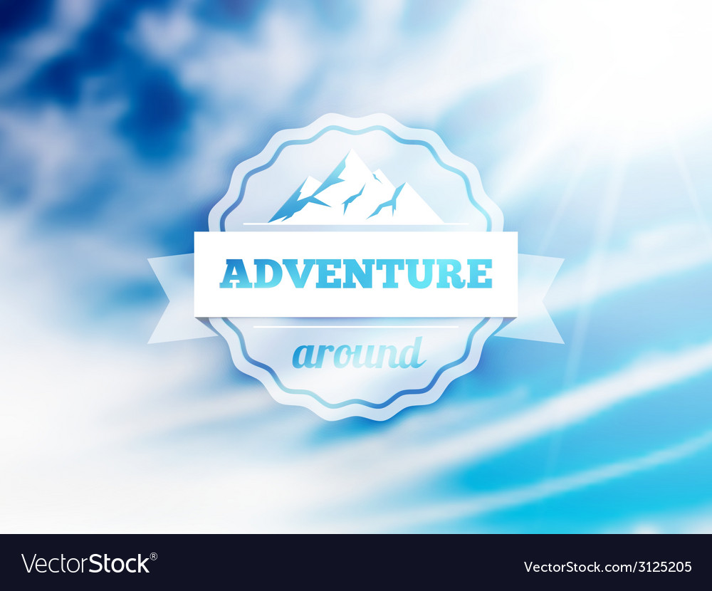 Badge with mountain peaks sign and text on ribbon vector | Price: 1 Credit (USD $1)
