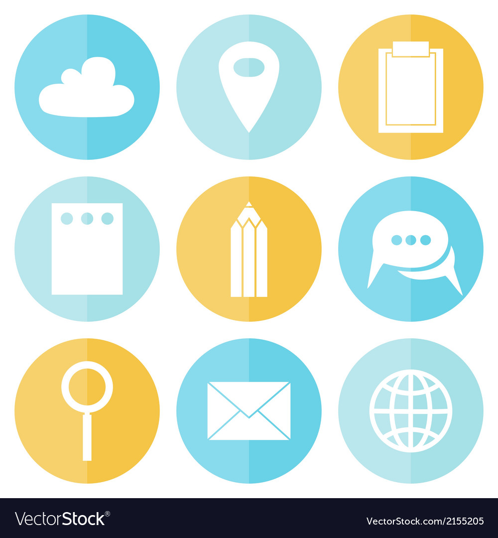Business circle flat icons vector | Price: 1 Credit (USD $1)