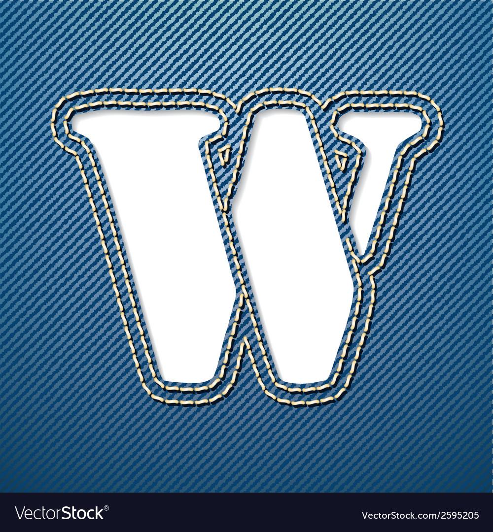 Denim jeans letter w vector | Price: 1 Credit (USD $1)