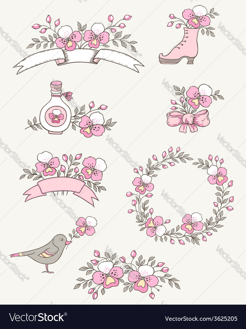 Floral doodle design elements with pink orchids vector | Price: 1 Credit (USD $1)