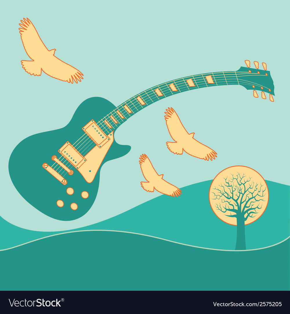 Guitar fly landscape2 vector | Price: 1 Credit (USD $1)