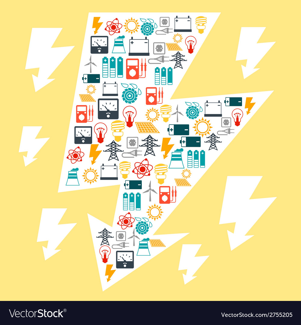 Industry background with power icons in flat vector | Price: 1 Credit (USD $1)
