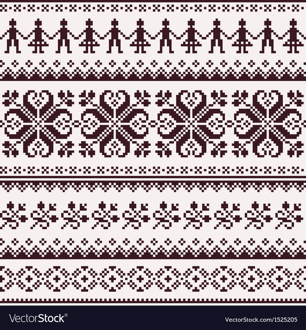 Nordic seamless winter knitted brown pattern vector | Price: 1 Credit (USD $1)