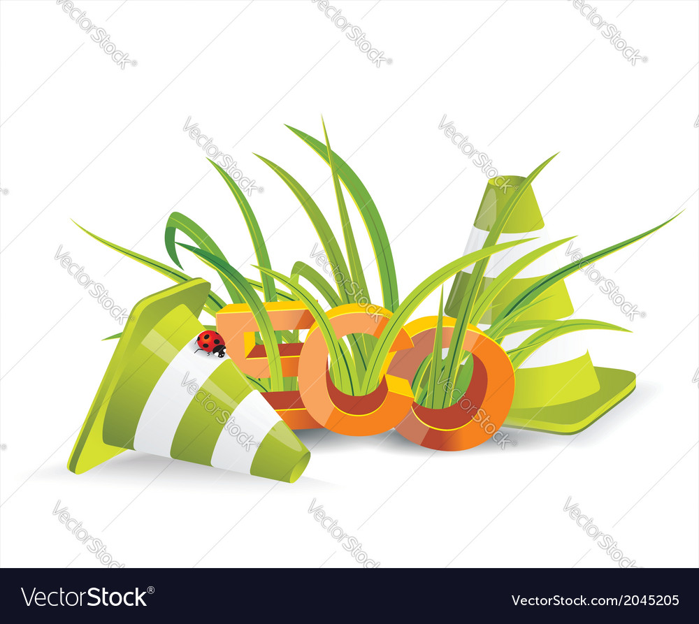Safety cones with green grass vector | Price: 1 Credit (USD $1)
