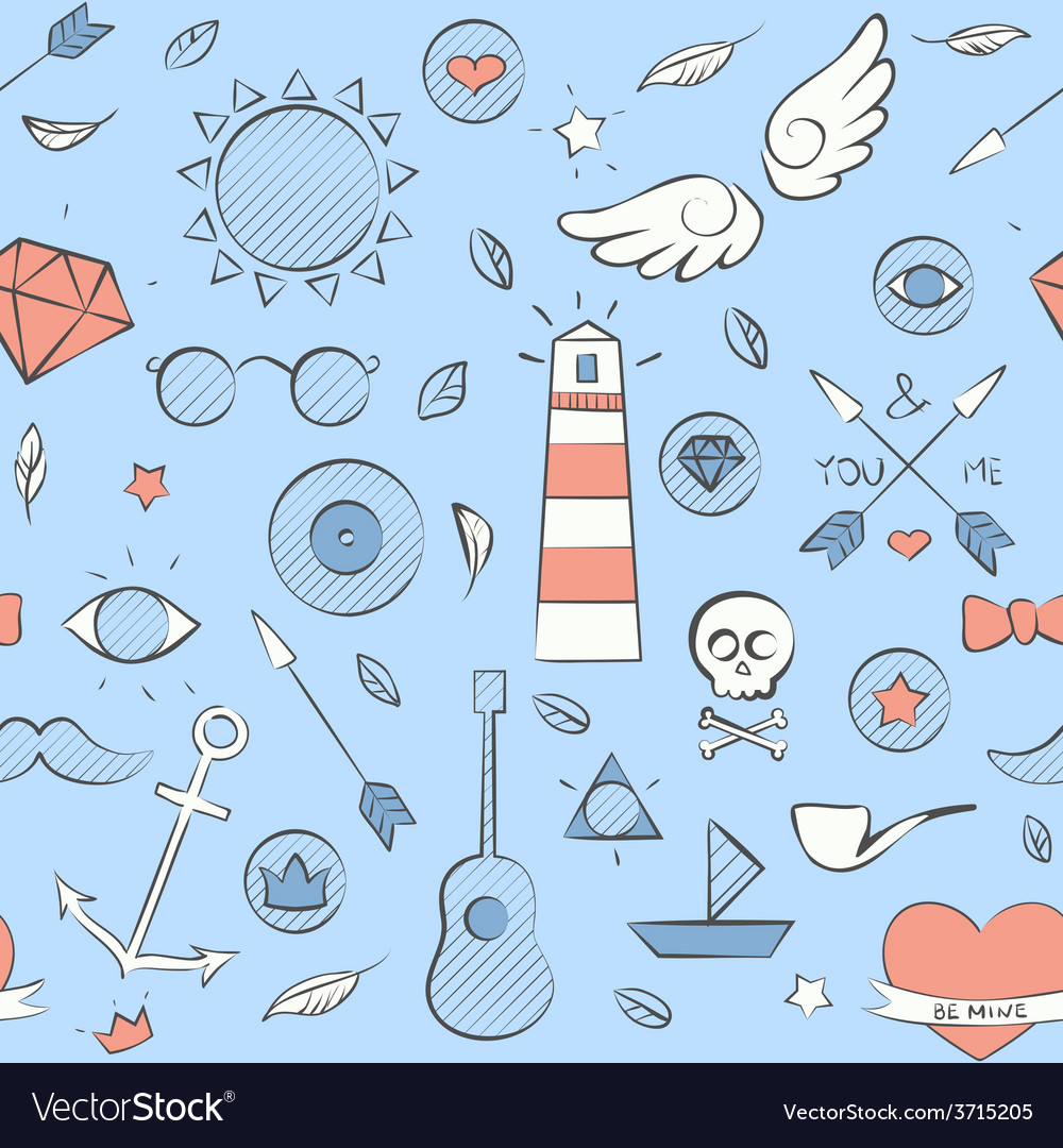 Sea doodle seamless hipster pattern over light vector | Price: 1 Credit (USD $1)