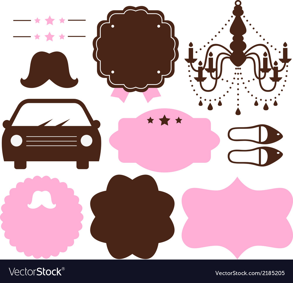Set of vintage design elements isolated on white vector | Price: 1 Credit (USD $1)