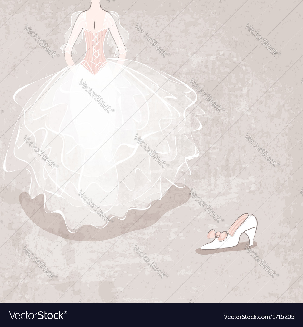 Sketch bride in wedding dress on grungy background vector | Price: 1 Credit (USD $1)