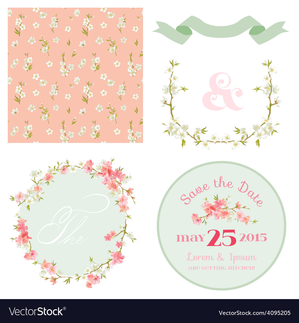 Spring blossom flowers background vector | Price: 1 Credit (USD $1)