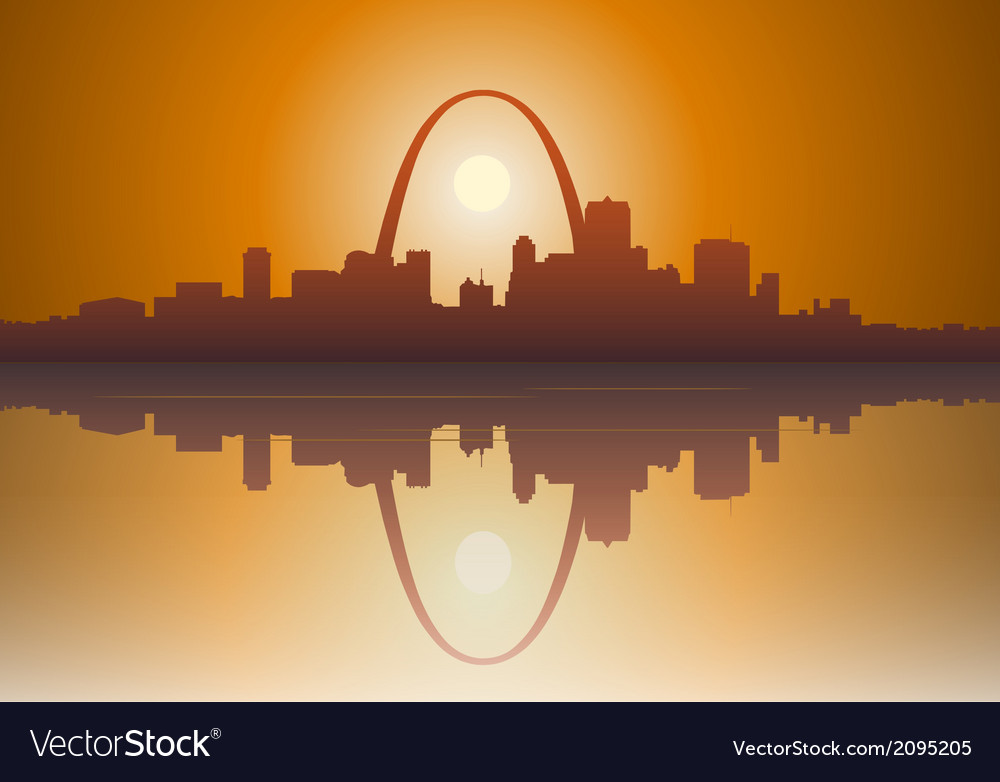 St louis city sunset vector | Price: 1 Credit (USD $1)