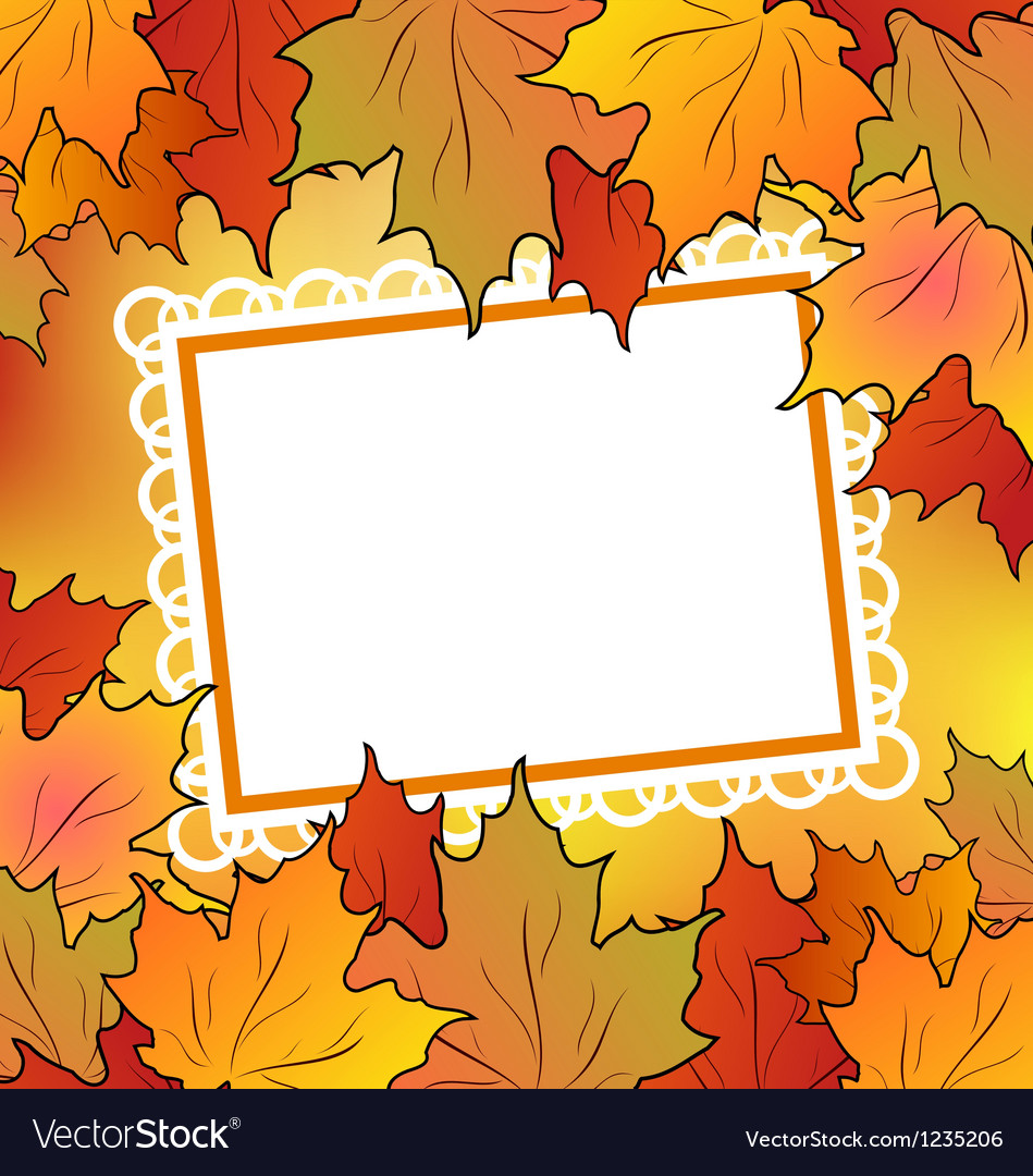 Autumn maple leaves with floral greeting card vector | Price: 1 Credit (USD $1)
