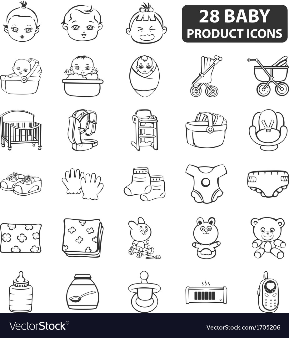 Baby product icons vector | Price: 1 Credit (USD $1)