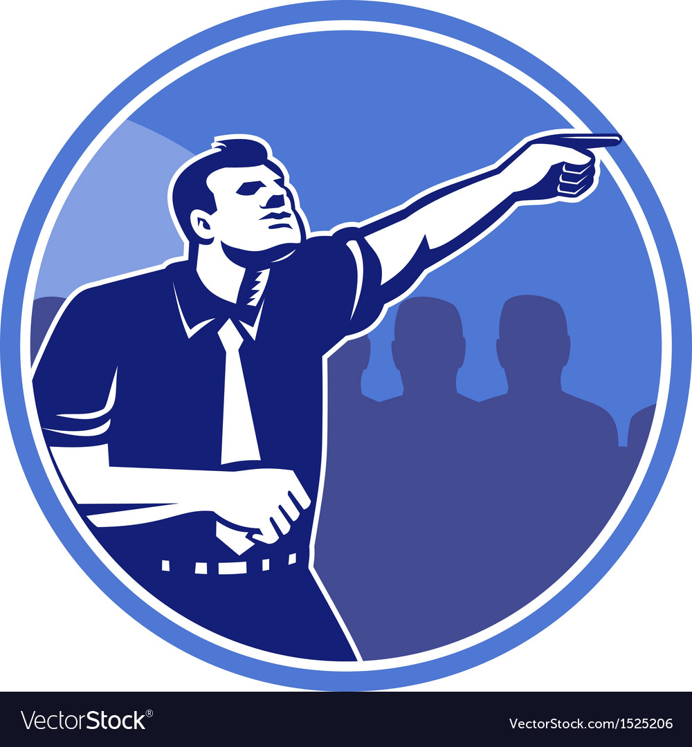 Businessman pointing forward woodcut vector | Price: 1 Credit (USD $1)
