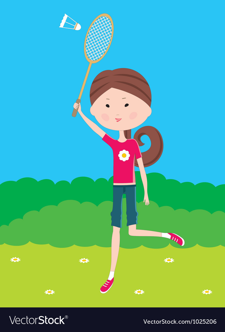 Cartoon girl plays badminton vector | Price: 1 Credit (USD $1)