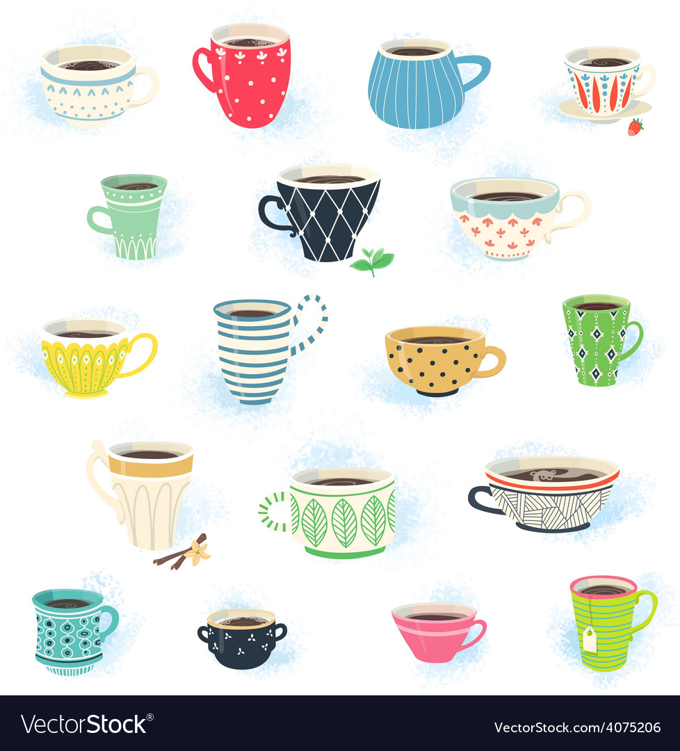 Clip art tea and coffee cup collection vector | Price: 1 Credit (USD $1)