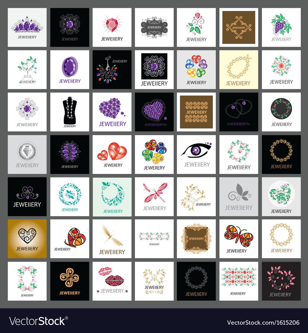 Collection of logos jewelry gold jewelry vector | Price: 1 Credit (USD $1)