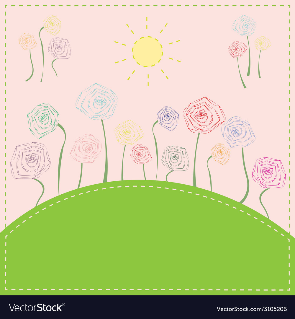 Colorful flowers on the meadow under the sun vector | Price: 1 Credit (USD $1)