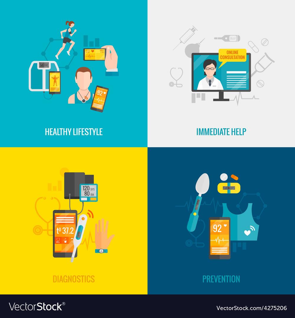 Digital health flat vector | Price: 1 Credit (USD $1)
