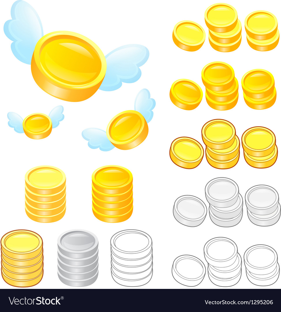 Diverse styles of gold coin sets vector | Price: 1 Credit (USD $1)