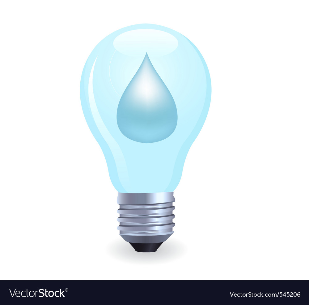 Electric light bulb symbolizing energy of water vector | Price: 1 Credit (USD $1)