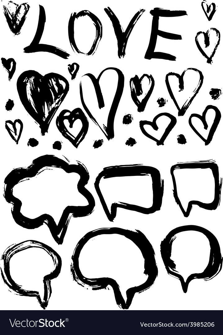 Grunge set of speech bubbles and hearts grungy vector | Price: 1 Credit (USD $1)