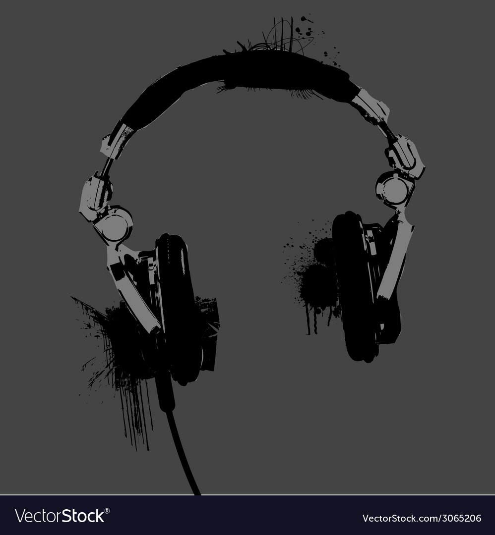 Headphones stencil vector | Price: 1 Credit (USD $1)