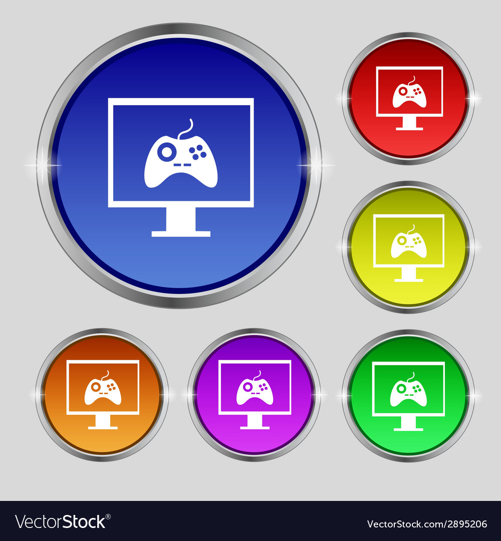Joystick and monitor sign icon video game symbol vector | Price: 1 Credit (USD $1)