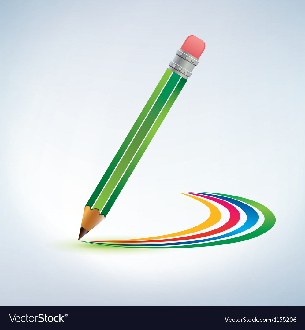 Pencil drawing a rainbow background vector | Price: 1 Credit (USD $1)