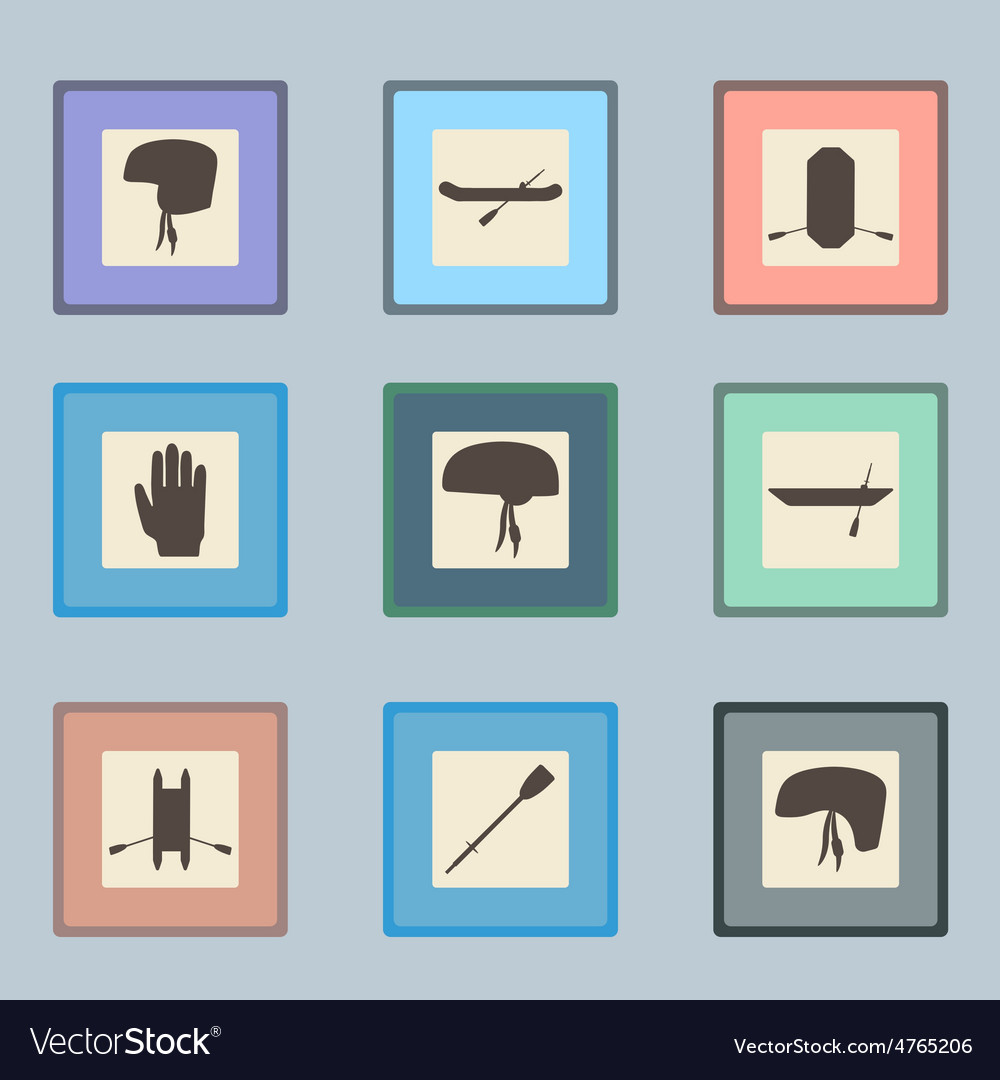 Rafting sport items linear icon set oar and vector | Price: 1 Credit (USD $1)