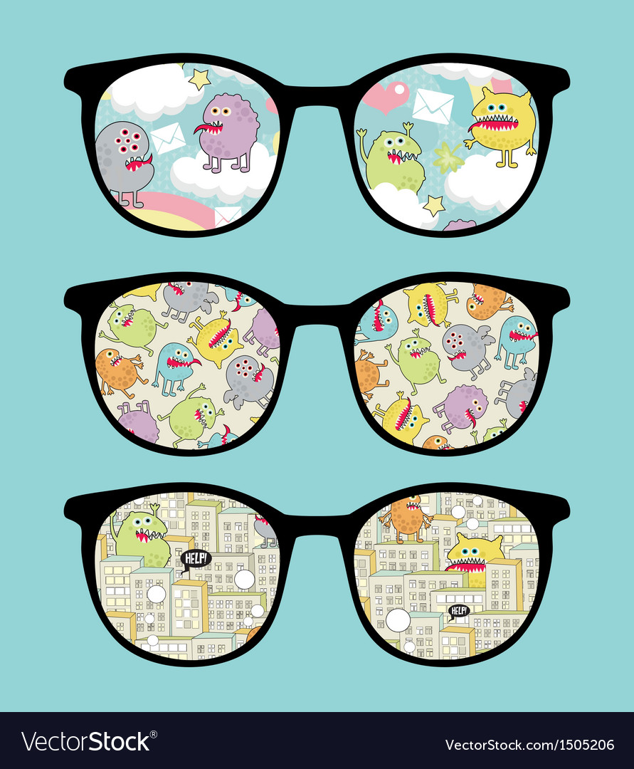 Retro sunglasses with sweet monsters reflection vector | Price: 1 Credit (USD $1)