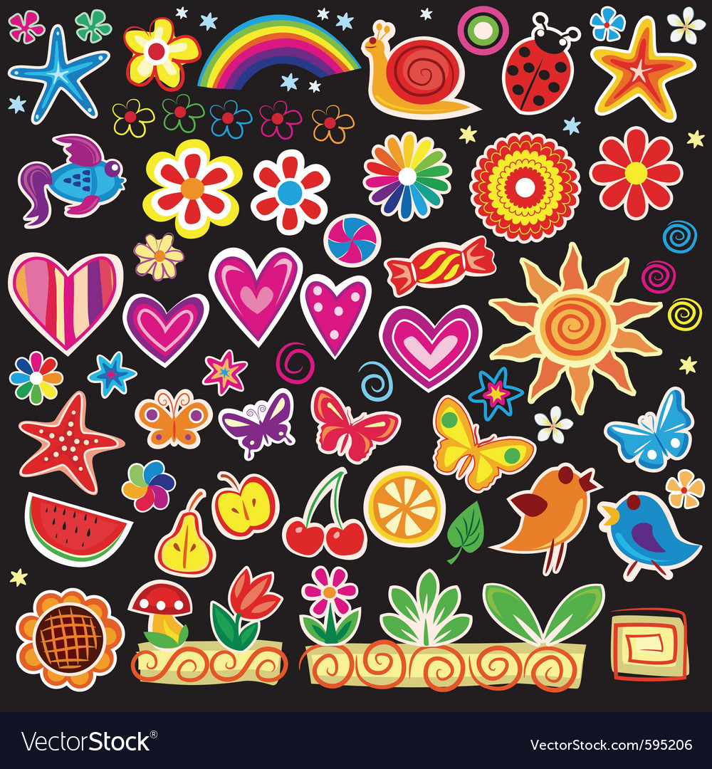 Set of cheerful sticker vector | Price: 1 Credit (USD $1)