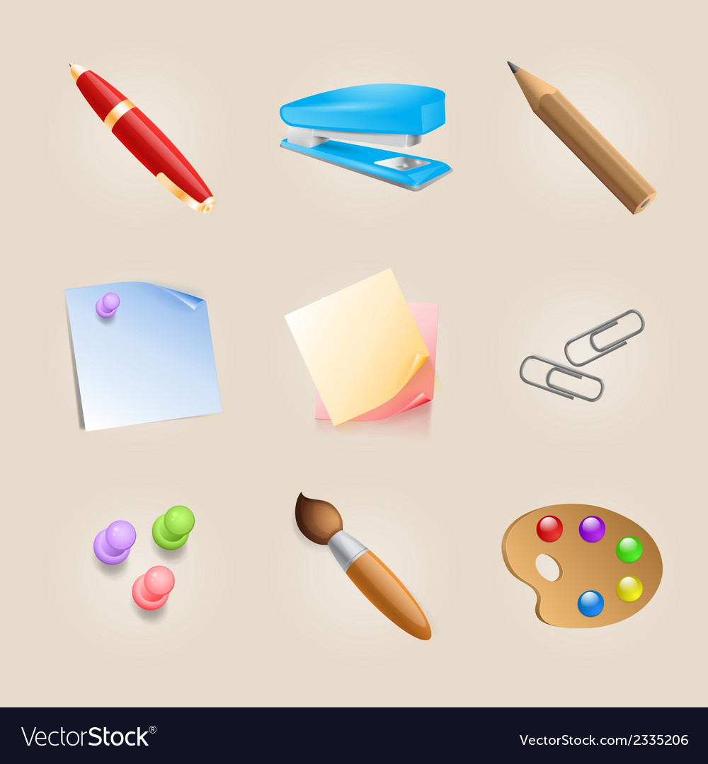 Set of school icons vector | Price: 1 Credit (USD $1)