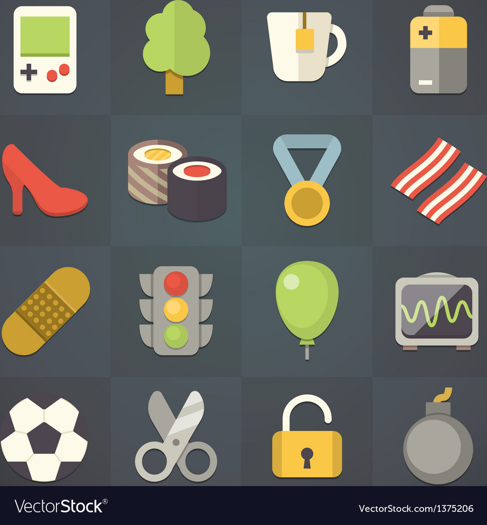 Universal flat icons for applications set 11 vector | Price: 1 Credit (USD $1)