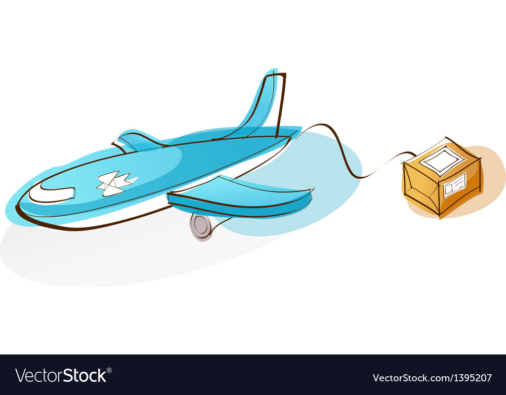 A flying airplane vector