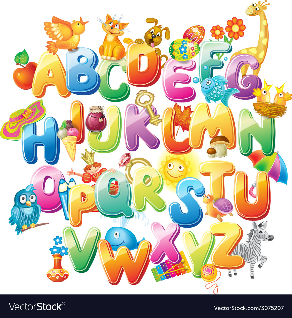 Alphabet with funny pictures for children vector | Price: 1 Credit (USD $1)