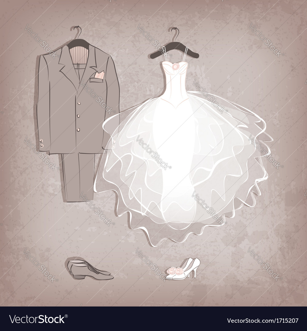 Bride dress and groom suit on grungy background vector | Price: 1 Credit (USD $1)