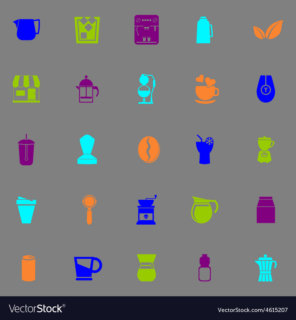 Coffee and tea icons fluorescent color on gray vector | Price: 1 Credit (USD $1)