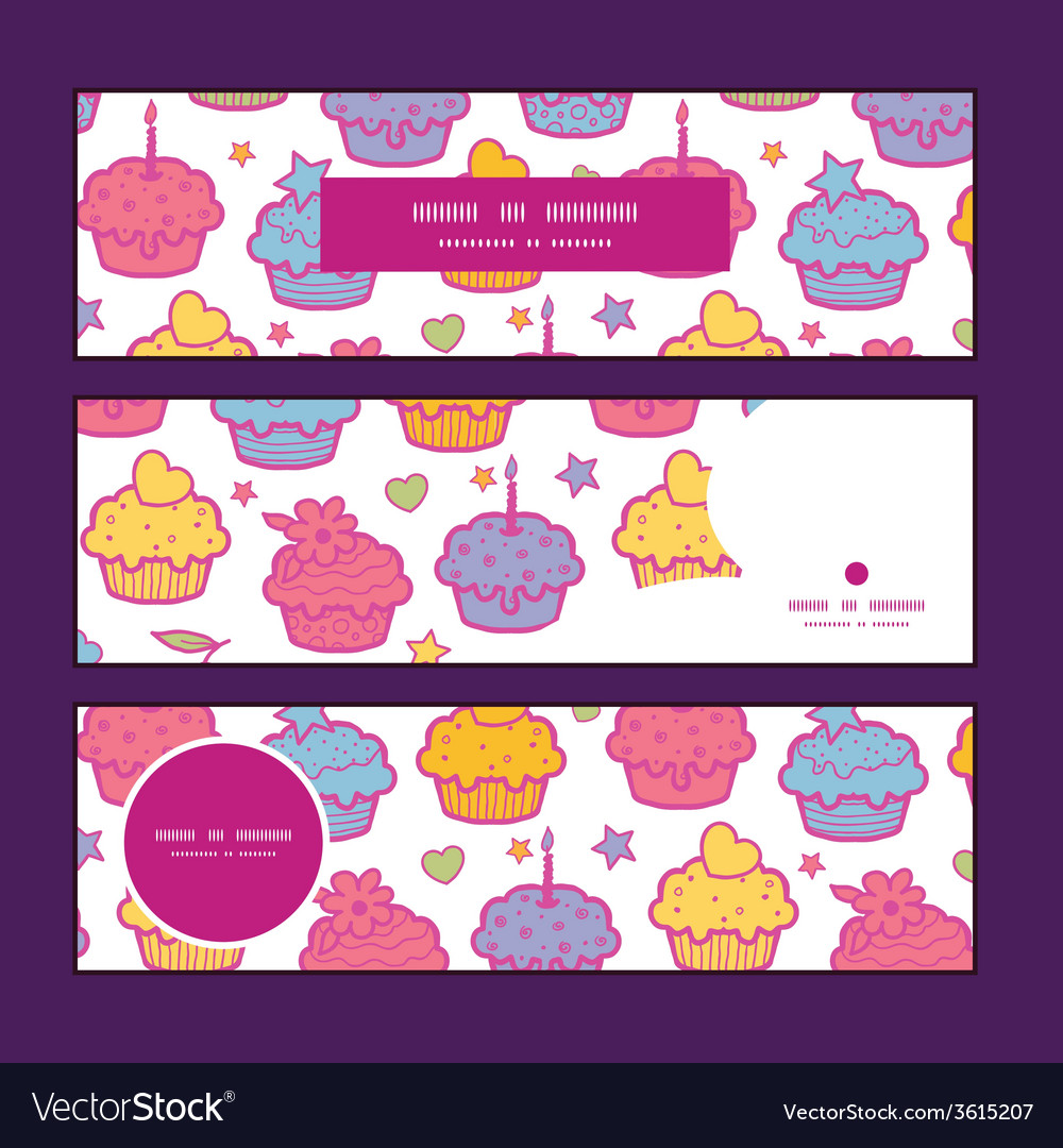 Colorful cupcake party horizontal banners set vector | Price: 1 Credit (USD $1)