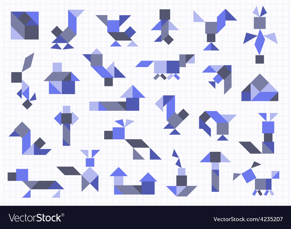 Farm animals birds tangram on a white background vector | Price: 1 Credit (USD $1)
