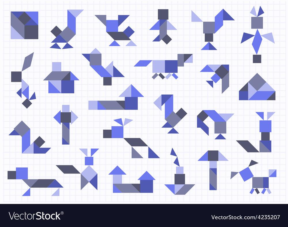 Farm animals birds tangram on a white background vector