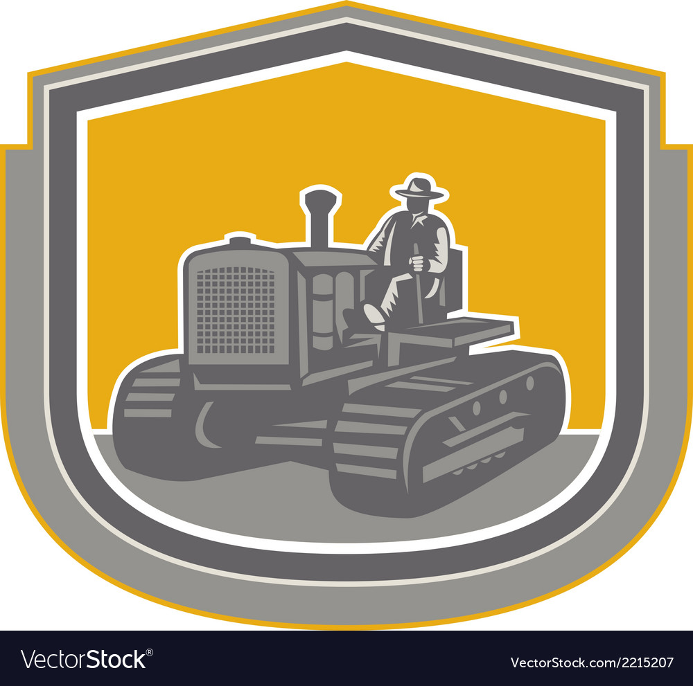 Farmer driving tractor plowing farm shield retro vector | Price: 1 Credit (USD $1)